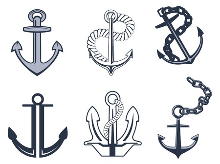 industrial ship: Set of anchorl symbols for design isolated on white background