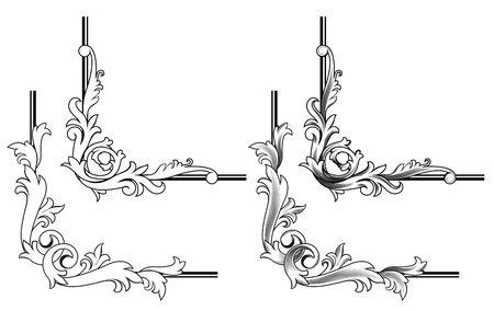 barok ornament: Swirl elementen en monogrammen voor ontwerp en versier