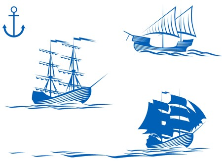 cannon: Set of sail ships isolated on white for design