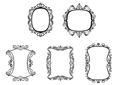 victorian: Set of vintage frames in victorian style for design Illustration