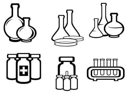 Conjunto de símbolos de frascos médicos y químicos para el diseño  Ilustración de vector