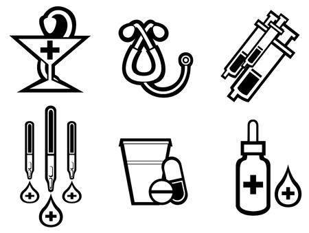 laboratory test: Set of medicine equipment and symbols isolated on white