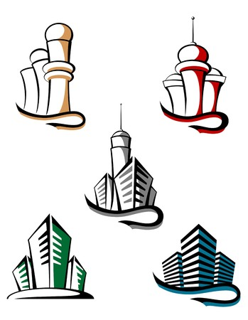office building interior: Real estate symbols for design and decorate Illustration