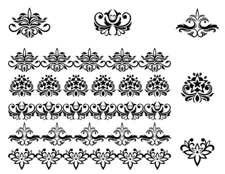 Flower patterns and borders for design and ornate Vector