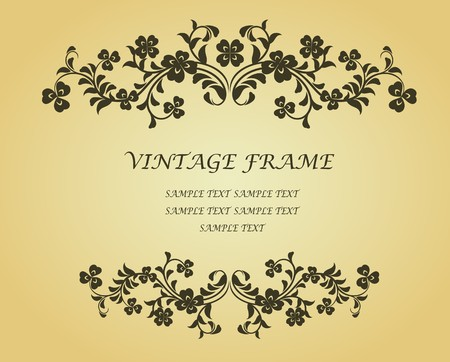 the clover: Vintage frame with clover in victorian style for design as a background Illustration