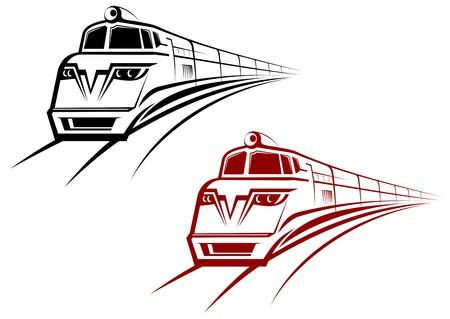 Trein- en metro symbolen voor ontwerp op wit wordt geïsoleerd  Vector Illustratie