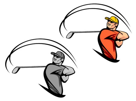 course of action: Golf player in two variations isolated on white