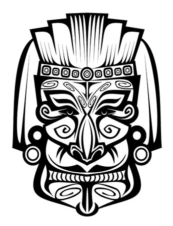 maya religion: Ancient ceremony mask isolated on white for design