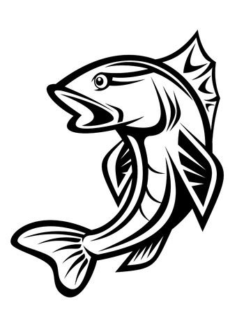 coger: Pescado como un s�mbolo de pesca aislado en blanco