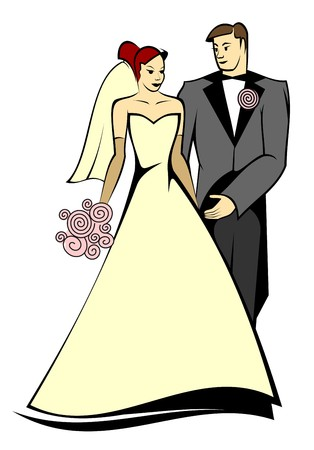 Bride and groom isolated on white for marriage ceremony design Vector
