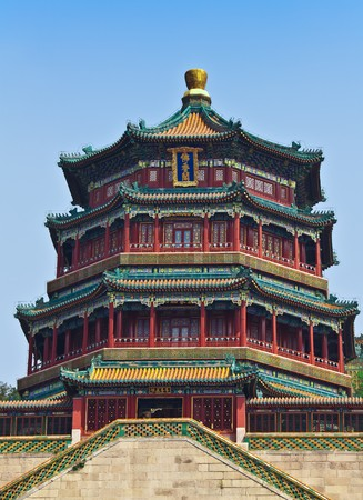 famous place: Famous temple in Summer Emperor Palace in Beijing Stock Photo
