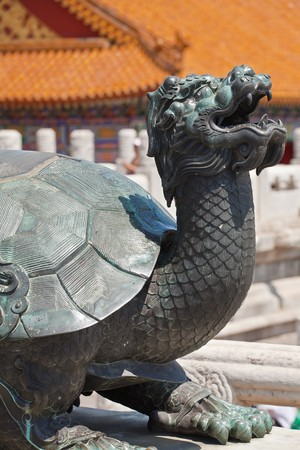 Bronze turtle near the entrance of China  Emperor Pavilion in Forbidden City Stock Photo - 7219669