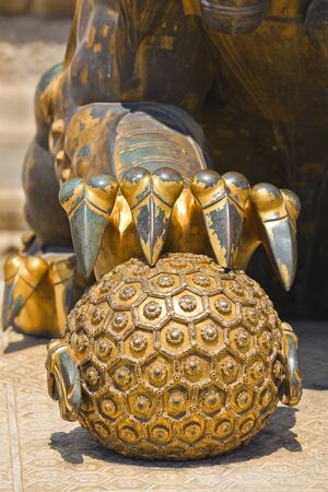Closeup element of ancient bronze lion in Forbidden City Stock Photo - 7219674