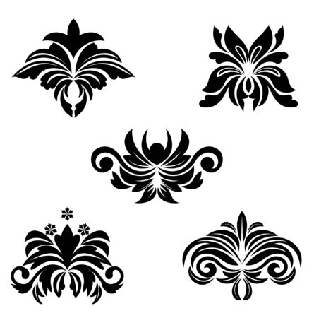 Black flower patterns for design and ornate Vector