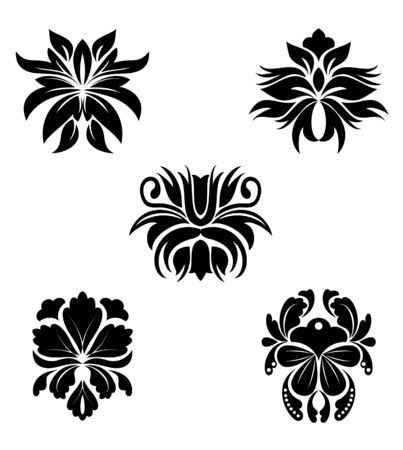 rococo style: Black flower patterns for design and ornate