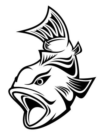 Pescado como un símbolo de pesca aislado en blanco Ilustración de vector