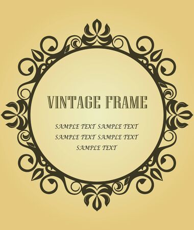 gothic revival: Vintage frame in victorian style for design as a background Illustration