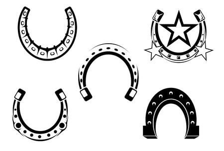 viejo oeste: Conjunto de elementos de herraduras para suerte de conceptos de dise�o  Vectores