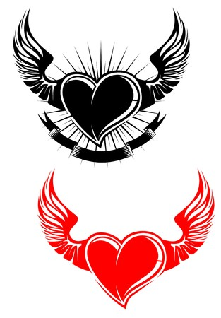 Heart with wings tattoo symbol isolated on white Stock Vector - 7248409