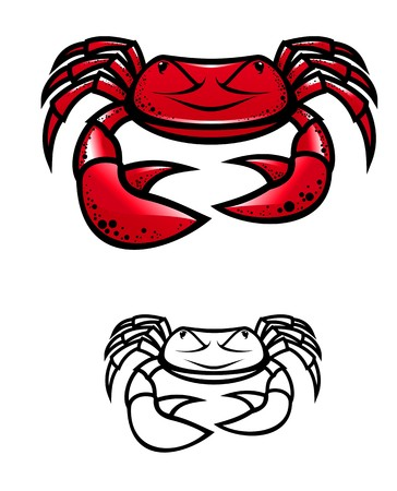 hardshell: Red crab with claws as a symbol of seafood Illustration