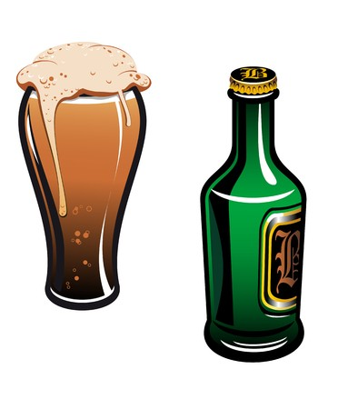pint glass: Glass of german beer and bottle isolated on white Illustration