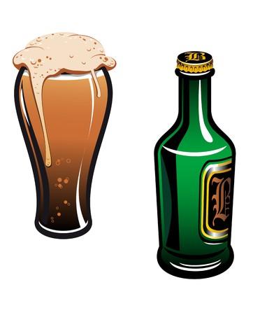 Vaso de cerveza alemana y botella aislados en blanco
