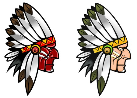 apache: Indigenous people in national costume for tattoo design Illustration