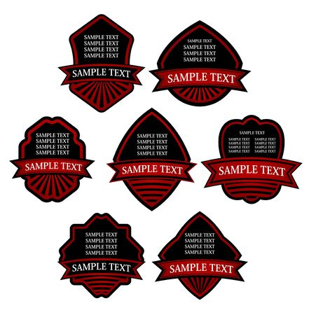 Set of red striped labels for design food and beverages Stock Vector - 7248507