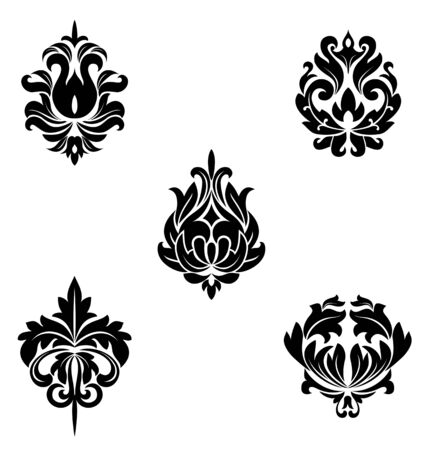 brocade: Black flower patterns for design and ornate