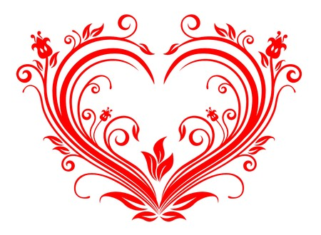 Red valentine hearts in floral style for design Stock Vector - 7248443