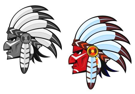 apache: Pueblos ind�genas en el traje nacional para el dise�o del tatuaje  Vectores