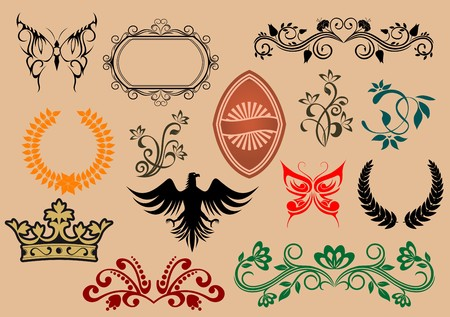Set of heraldic elements for design and decorate Vector