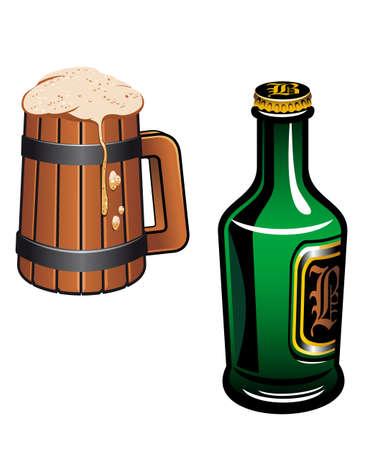 Cold german beer as a oktoberfest or drink symbol Vector