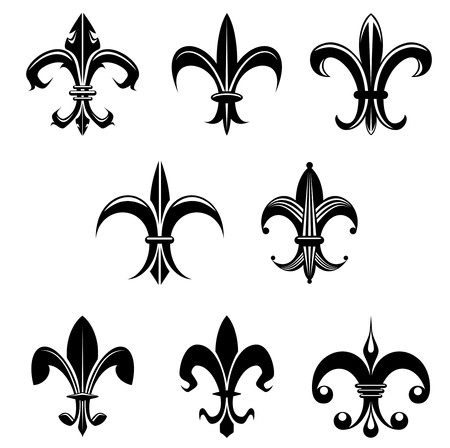 french culture: Royal french lily symbols for design and decorate