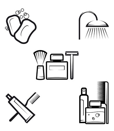 Set of hygiene objects as a lifestyle concept Vector