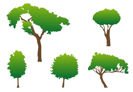 forest conservation: Set of green tree symbols as a signs or emblems