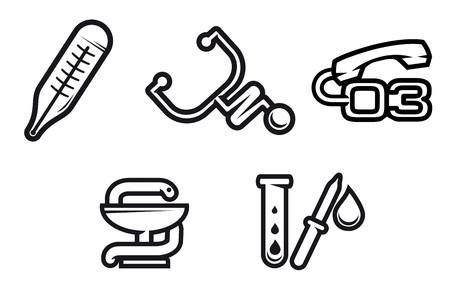 Set of medicine equipment and symbols isolated on white Stock Vector - 7333968