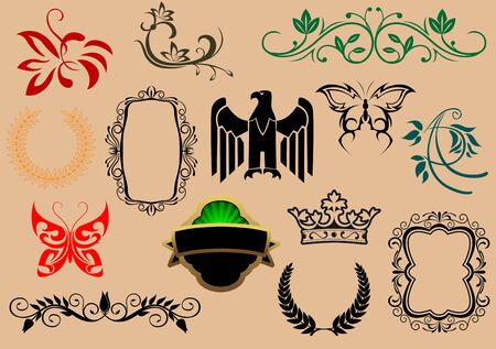 Set of royal heraldic elements isolated on background Stock Vector - 7410960