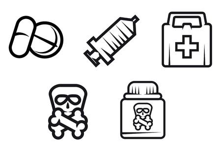 injectie: Geneeskunde apparatuur en symbolen op wit wordt geïsoleerd
