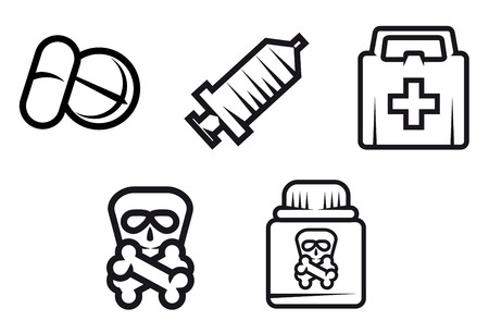 toxic substance: Set of medicine equipment and symbols isolated on white