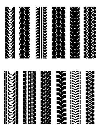 pisada: Conjunto de formas de neum�tico aislado en blanco para el dise�o  Vectores