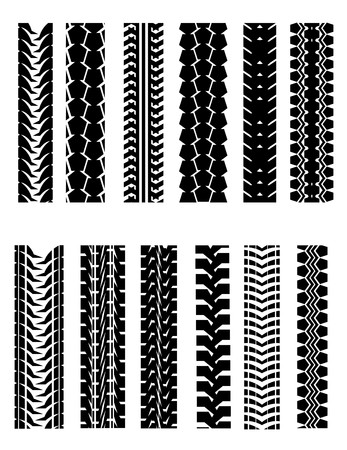 motorcycle racing: Set of tire shapes isolated on white for design Illustration