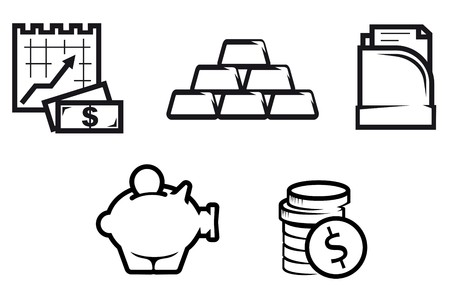 coin icon: Set of finance and economic symbols isolated on white