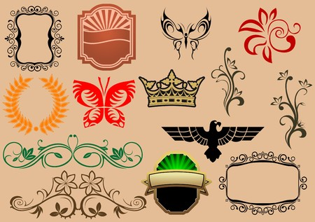 Set of royal heraldic elements isolated on background Stock Vector - 7462499