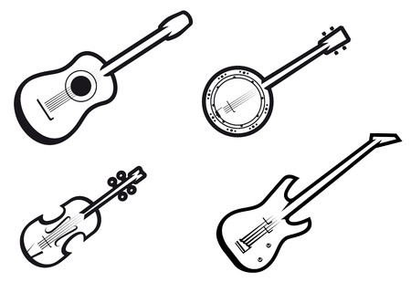 acoustic: Set of string musical instruments for music design