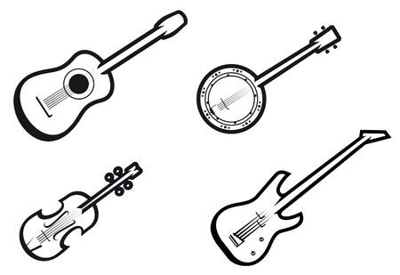 Set d'instruments à cordes de musique pour la conception de la musique