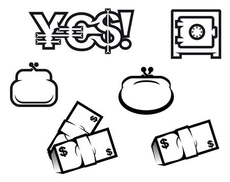 Set of finance and economic symbols isolated on white for design Stock Vector - 7462489