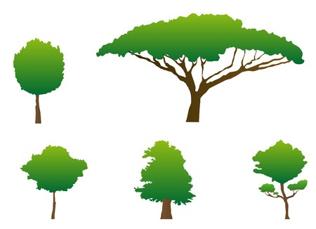 Set of green tree silhouettes for ecology design Illustration