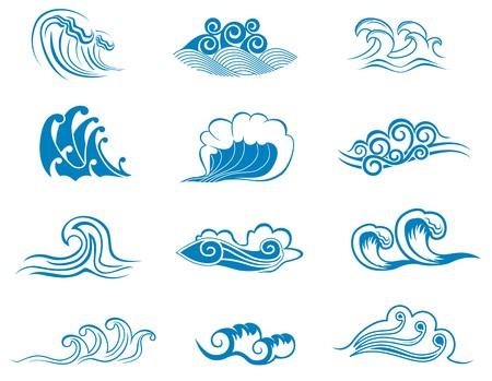 fantasque: Jeu de symboles de la vague de conception isol�es sur blanc  Illustration