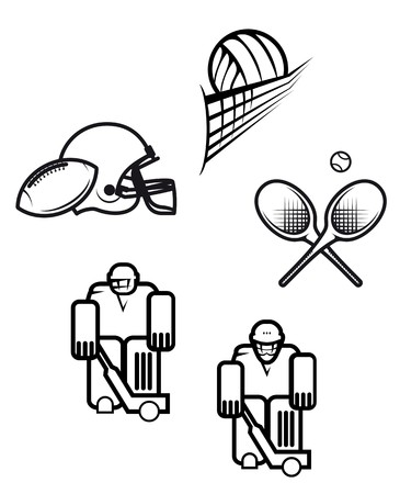 sport logo: Set of sport symbols isolated on white Illustration